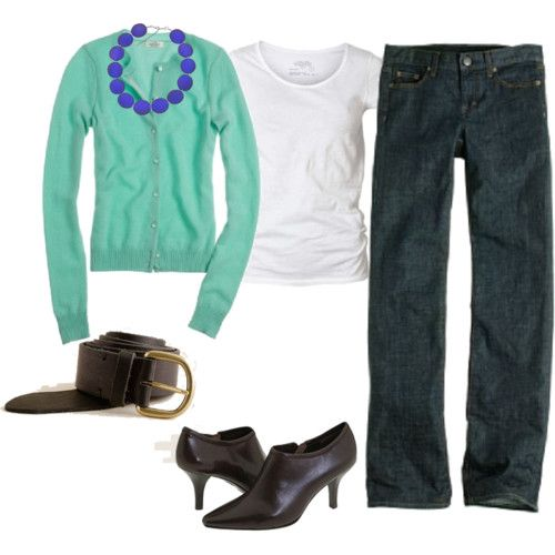 teal with royal blue necklace... Not so much the shoes though.