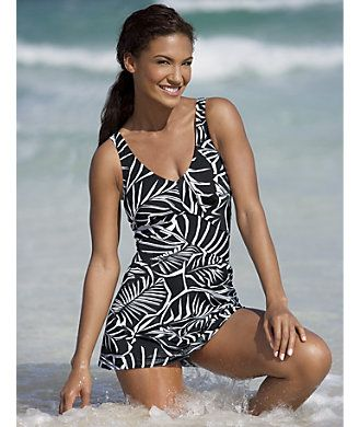 "Tropical Palms Swimdress from Monroe and Main. Inverted ""V"" band draws the eye to the narrowest part of your torso in this retro-chic swimdress designed for all-over confidence. www.monroeandmain.com"