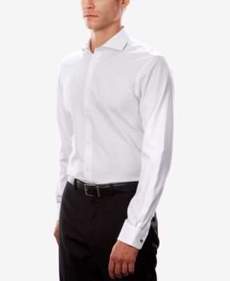 e5e4b2f87 Tommy Hilfiger Men's Fitted Th Flex Cooling Stretch Performance White  Spread Collar Dress Shirt - White 15 32/33