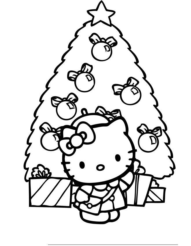 Hello Kitty And Christmas Tree To Decorate In Coloring Pages