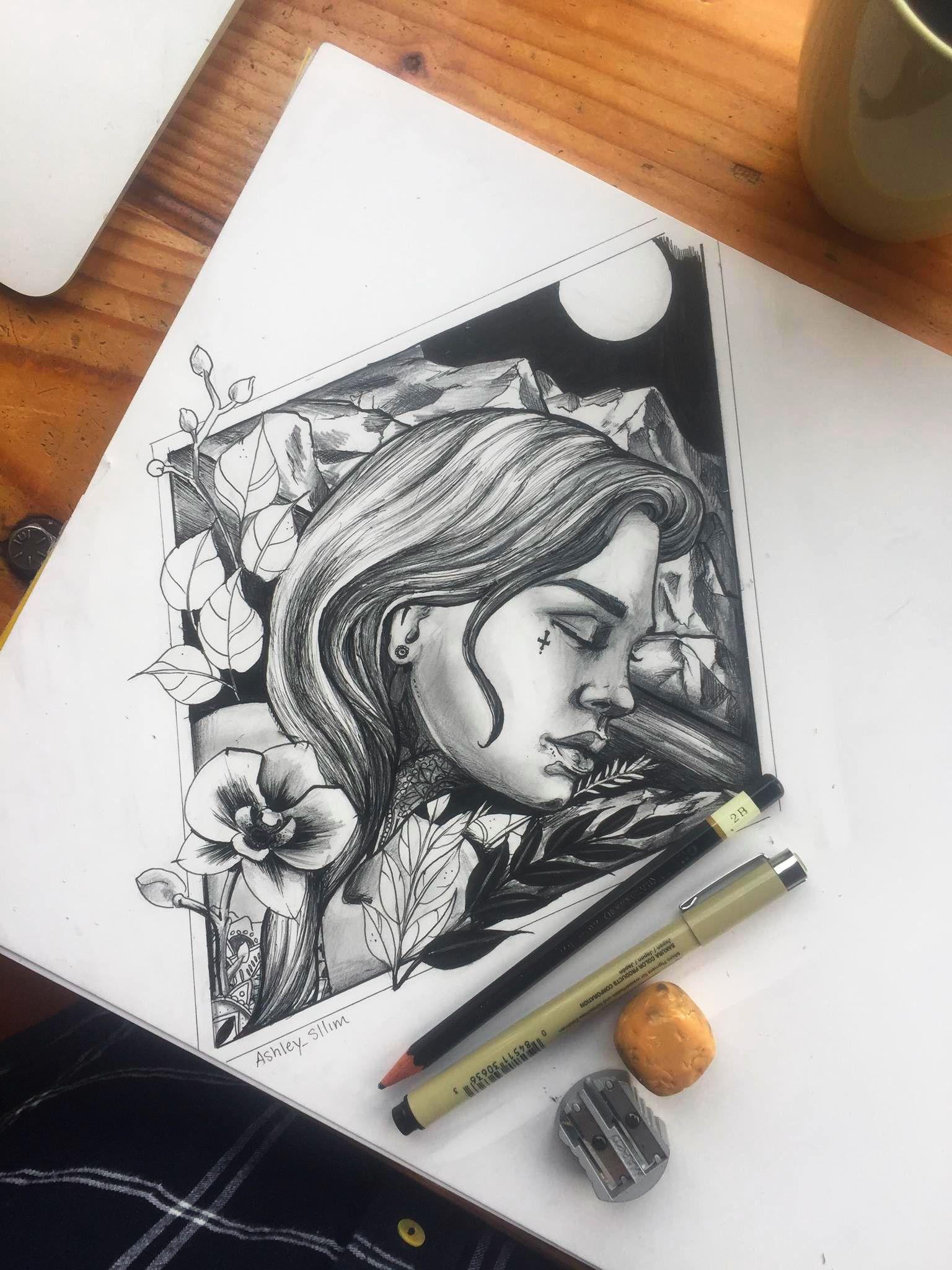 Denver bicycle cafe drawing ink pencil colorado moon