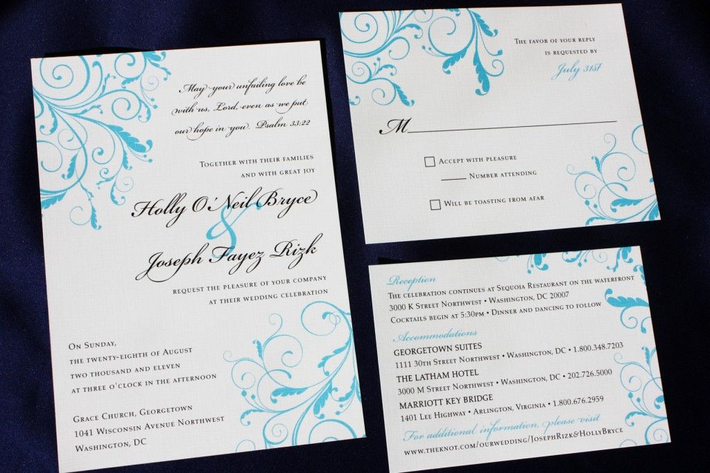 Turquoise Blue Leafy Swirl Wedding Invitations This invitation - best of invitation card wedding format