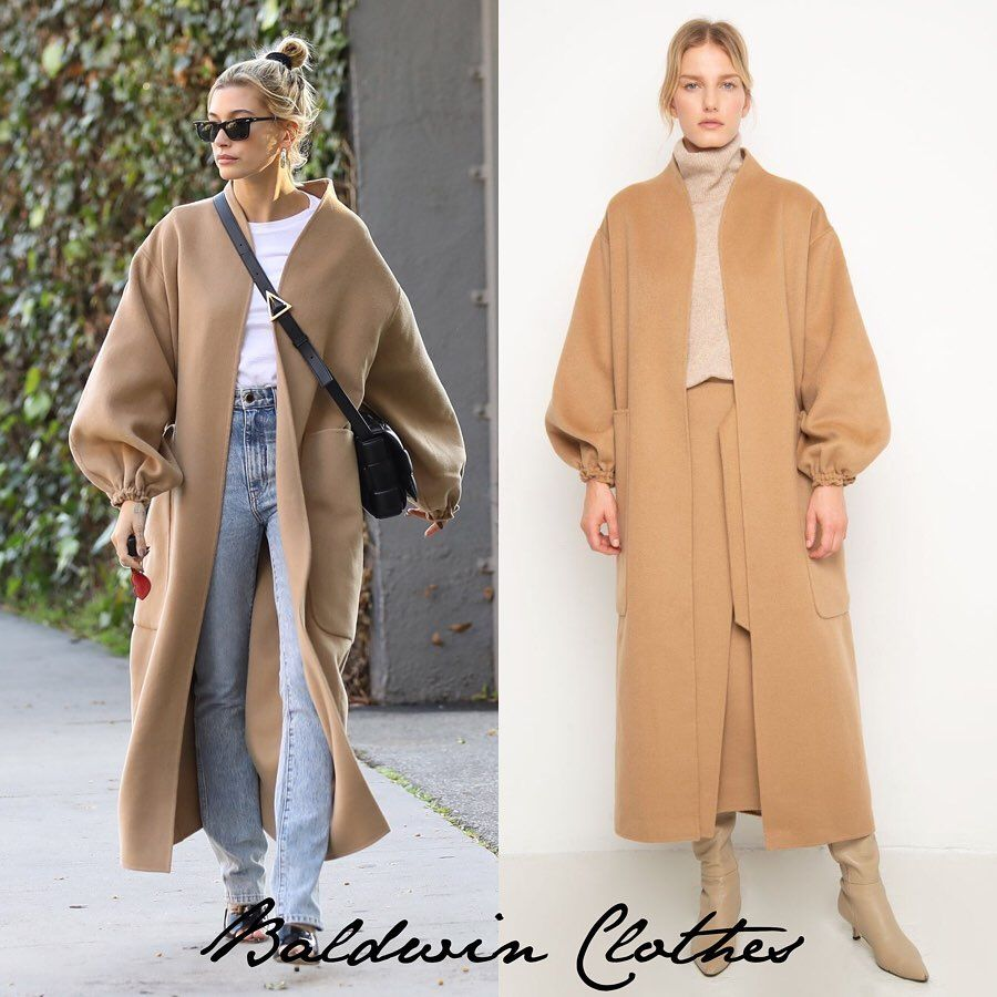 """Photo of Hailey Bieber Clothes on Instagram: """"January 17, 2020 – Hailey Bieber out in LA.  #HaileyBieber wears @thefrankieshop Monk Coat by Shaina Mote- Camel (Sold Out), @khaite_ny The…"""""""