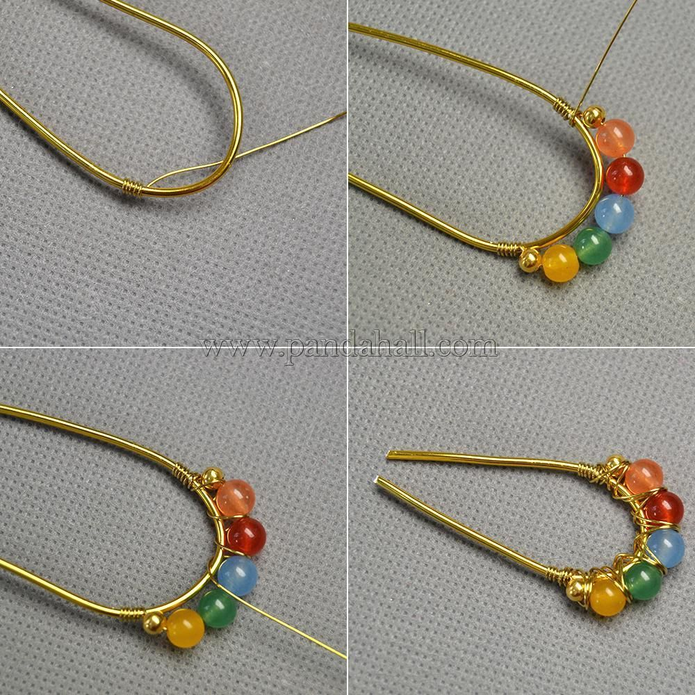 Mixed Color Jade Beads Wire Wrapped Earrings | wire earrings ...