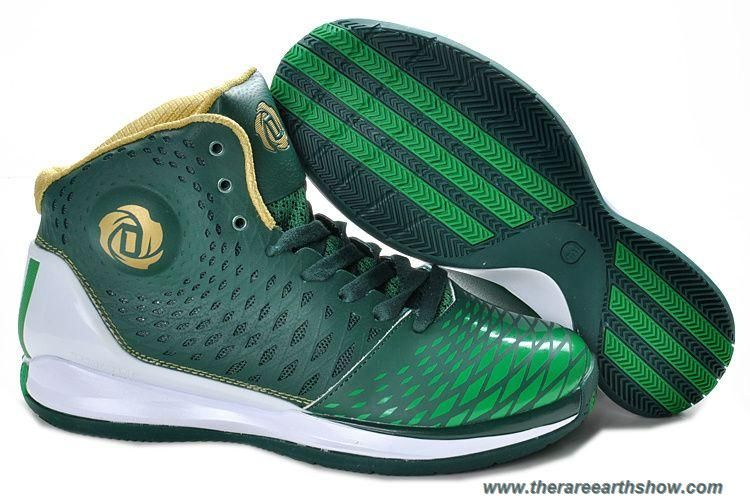 official photos 16562 cfd04 New Green White Gold Adidas AdiZero Derrick Rose 3.5