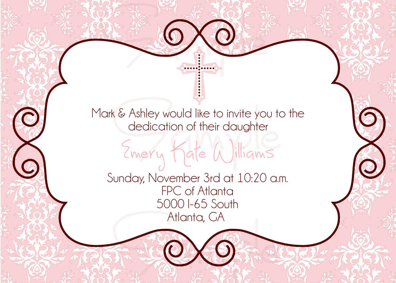 Cross Baptism Invitation Pink And Brown Christening Dedication
