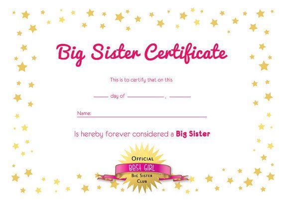 Big Sister Certificate In 2021 Big Brother Gift Big Sister Big Sister Gifts