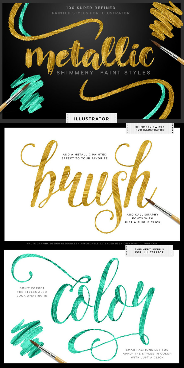 Shimmery Gold Styles for Illustrator   Graphic Design and