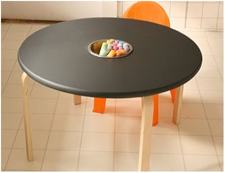 Chalkboard table.... sweet idea and something I wish I had when I was younger.