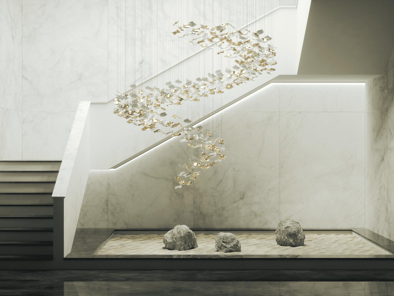 kerchiefs light fixture contemporary lighting design design staircase design