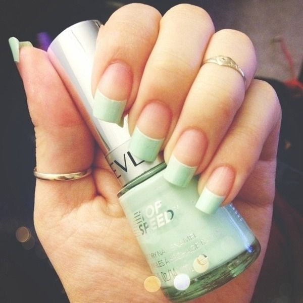 Mint Green Tips Nails French Mynails