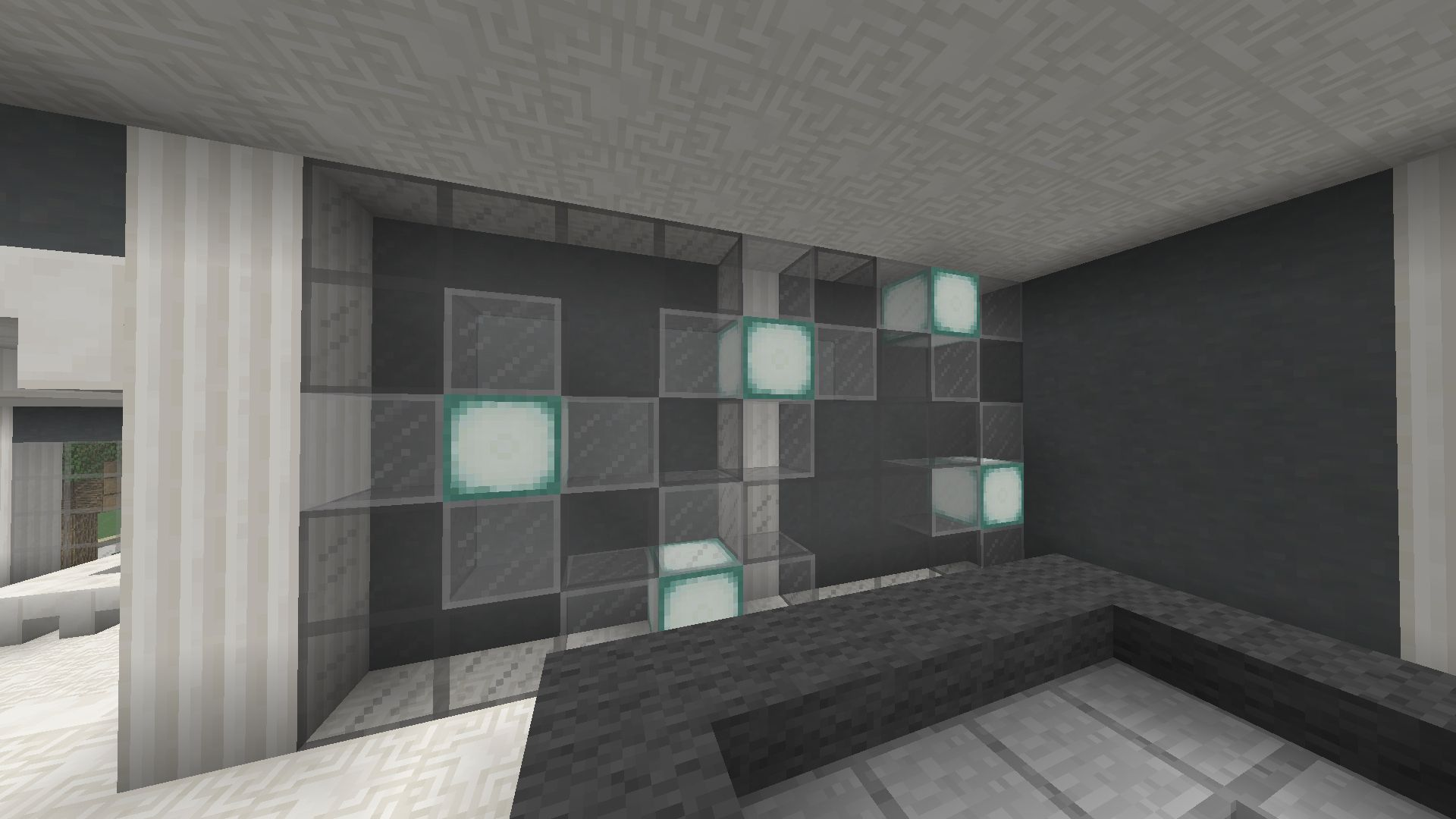 minecraft lighting idea no 2 made from light grey stained glass