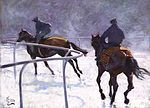 Horse Racing Blank Greetings Card 'Frosty Gallops' by Malcolm Coward C343