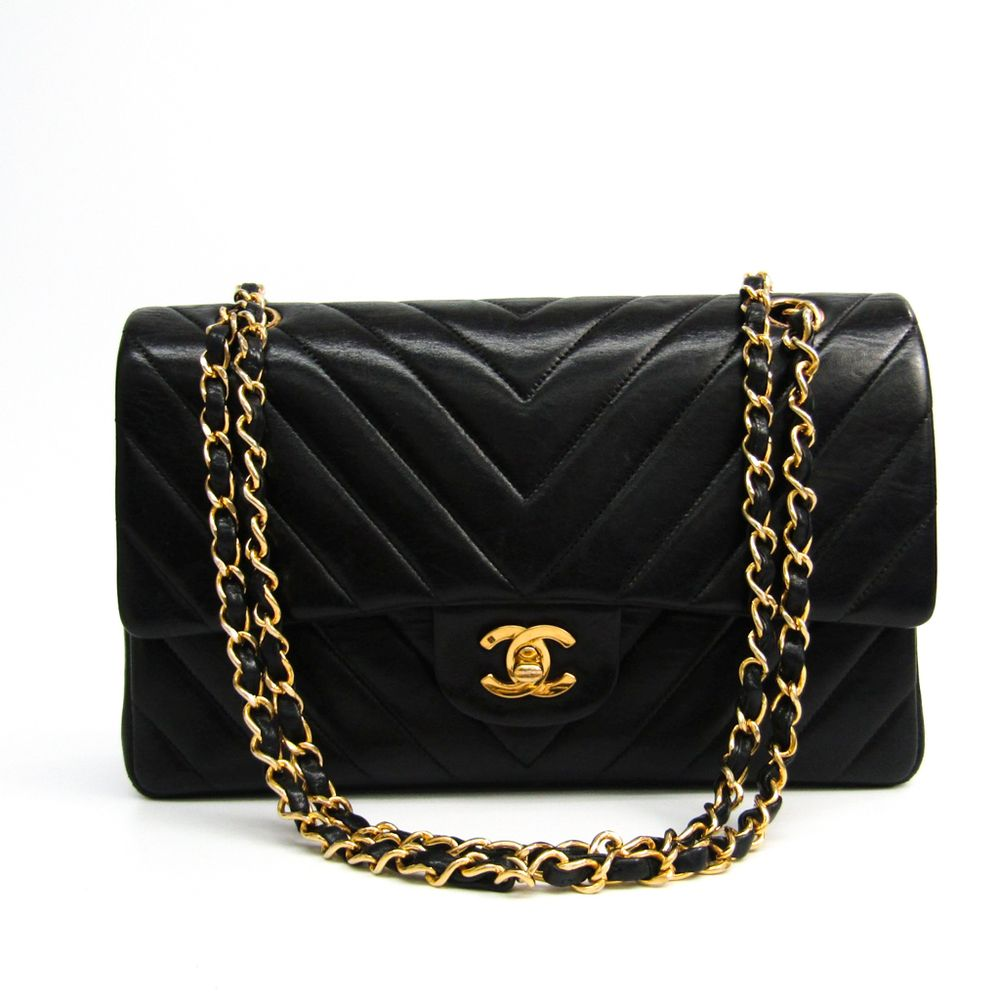 a7d9444eae28ee #chanel V Stitch W Flap Chain Shoulder Women's Leather Shoulder Bag Black