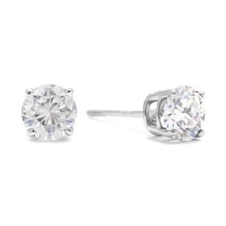 12dedeffc Colorless 1 Carat Genuine Natural F-G Super White Diamond Stud Earrings in 14  Karat White Gold. Unbelievable Value!