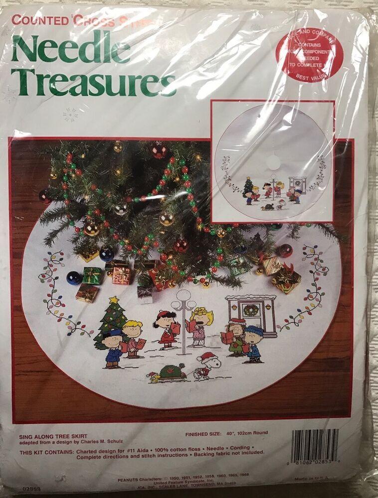 Peanuts Sing Along Cross Stitch Christmas Tree Skirt Kit Snoopy Holidays Oop New 810620 Christmas Tree Skirts Patterns Christmas Cross Stitch Cross Stitch Tree