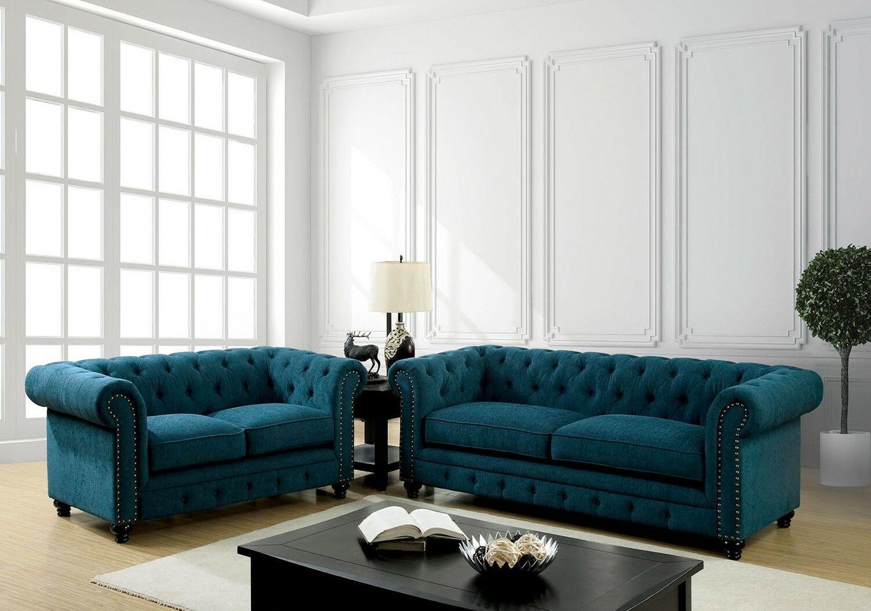 Standford Dark Teal Fabric Sofa Set Living Room Set Sofa Set Ideas Of Sofa Set Sofa Sofas Blue Sofas Living Room Living Room Sets 3 Piece Living Room Set