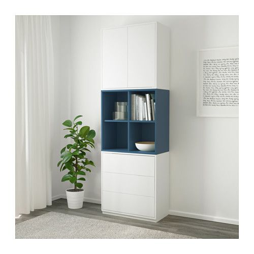 eket cabinet combination with plinth white dark blue ikea linzee road pinterest rangement. Black Bedroom Furniture Sets. Home Design Ideas