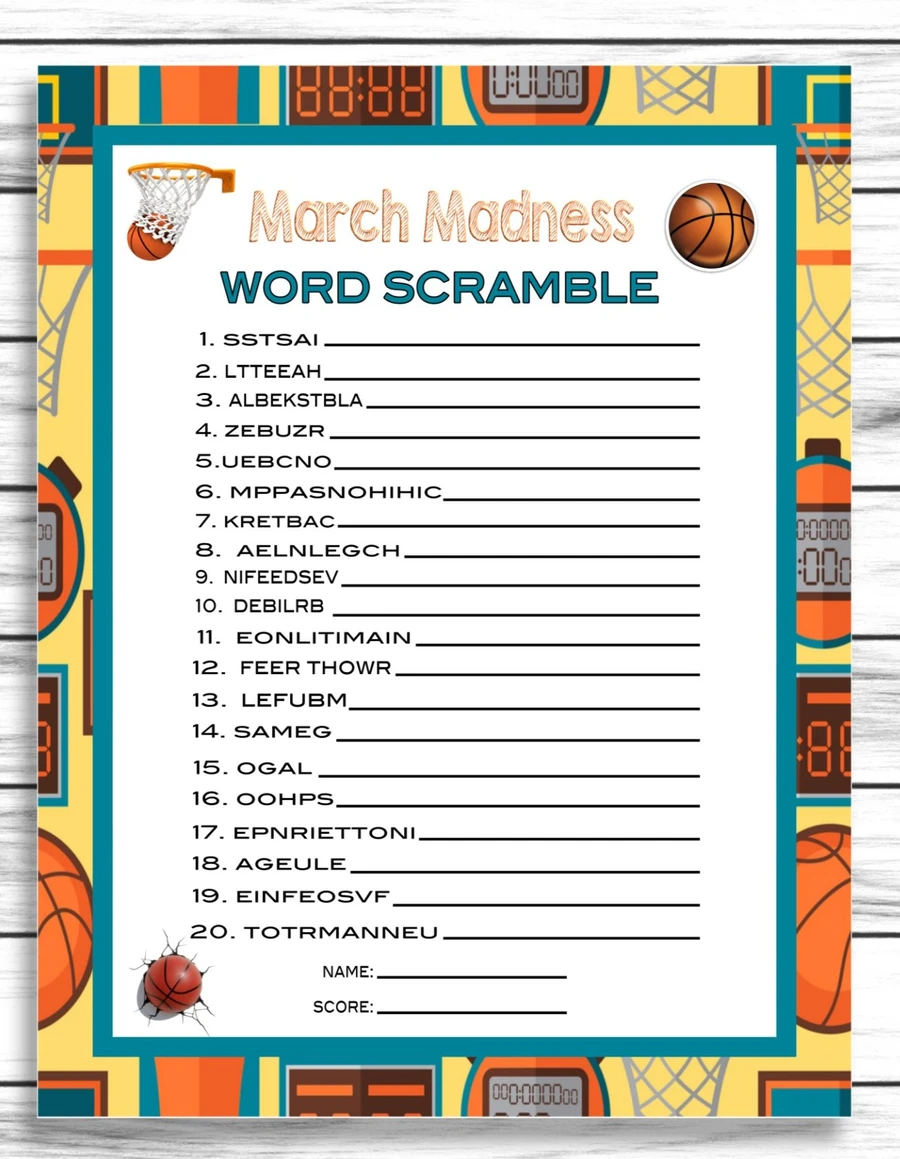 March Madness Word Scramble Party Game, College Basketball
