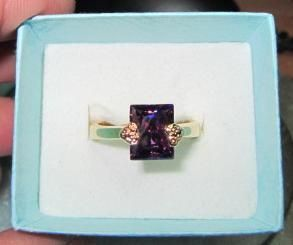 14K GOLD ELECTROPLATED CZ AMETHYST RING