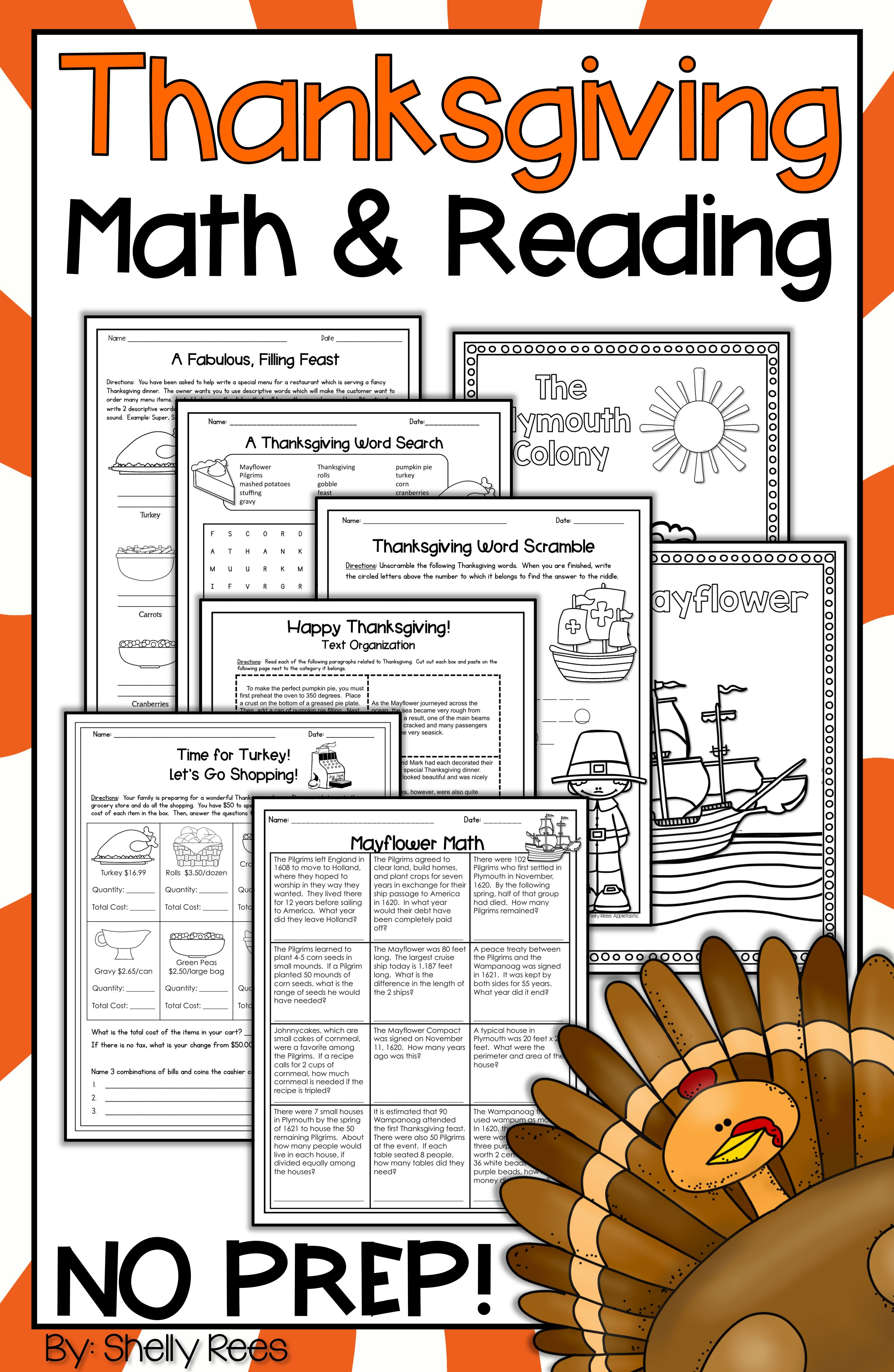 small resolution of Thanksgiving Reading activities and Thanksgiving Math activities are fun  for kids in 3rd