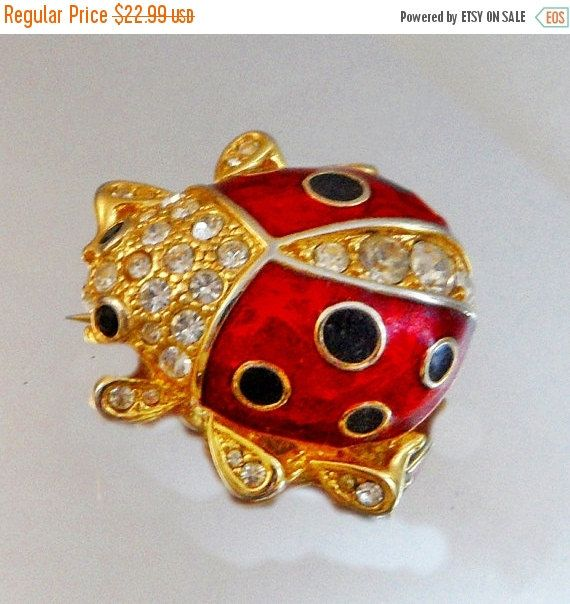 This Rhinestone Ladybug Brooch Is So Beautiful! It Features A Gold Tone  Ladybug With Glossy Red And Black Enamel Encrusted With Lots Of Clear  Rhinestones.