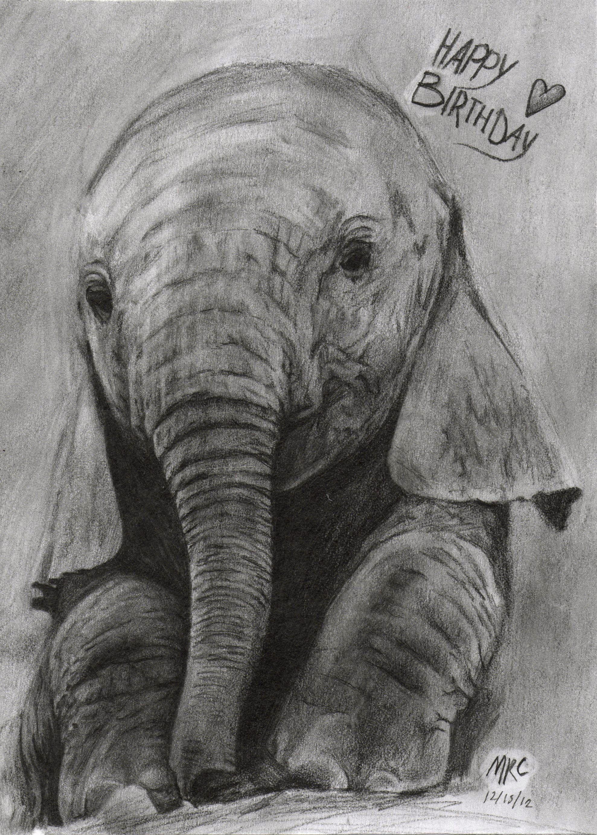 Beautiful Elephant Drawing With Happy Birthday Love