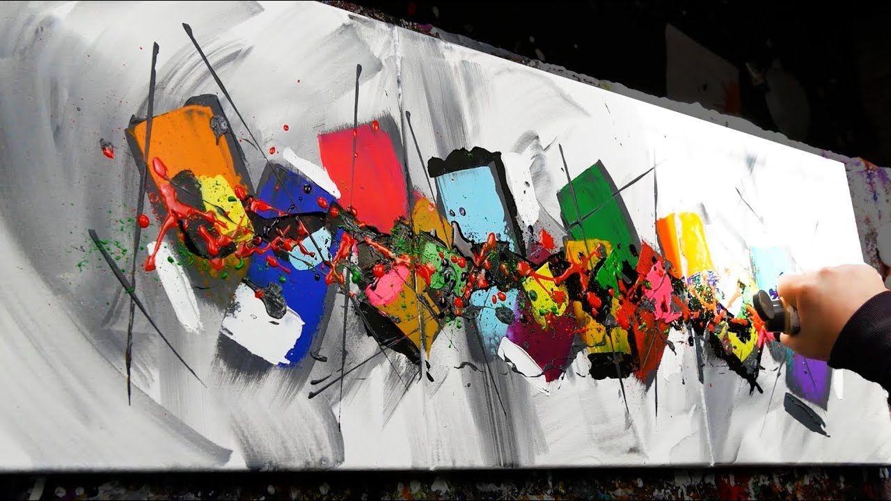 Démonstration De Peinture Abstraite Couteaux Pinceaux Milium