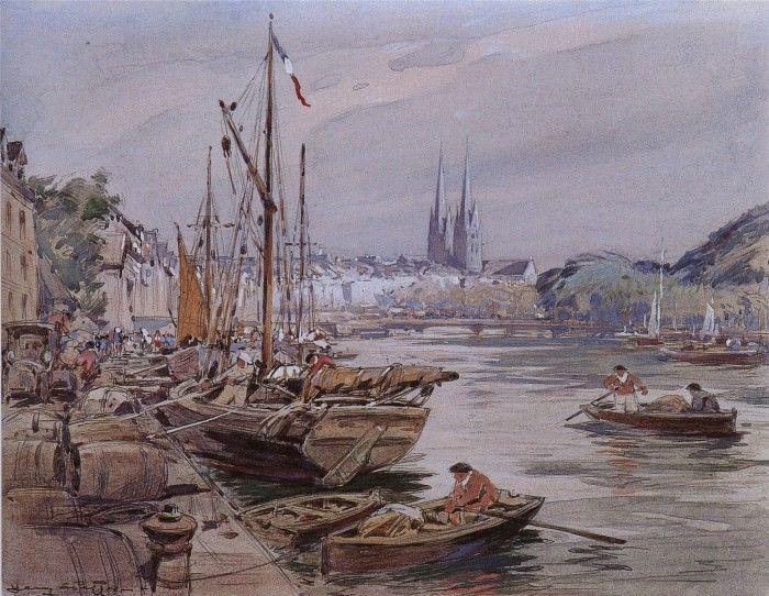 Henry Cheffer 1880 1957 Le Port De Quimper Bretagne Peintre