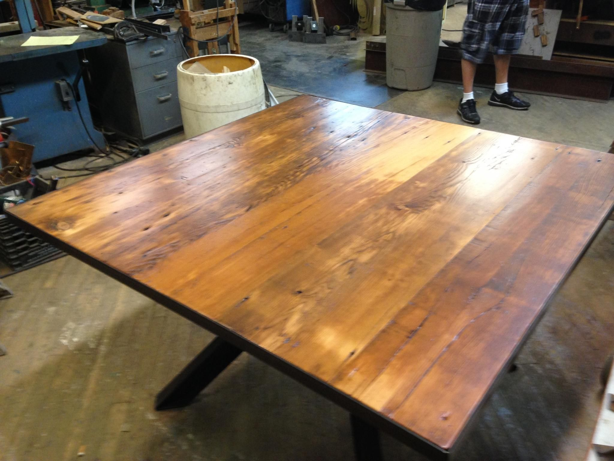 Large Square Dining Table Made From Reclaimed Wood And I Beams
