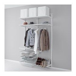 IKEA - ALGOT, Wall upright/rod/shoe organizer, The parts in the ALGOT series can be combined in many different ways and easily adapted to your needs and space.If your needs change, you can quickly rebuild your ALGOT storage solution, since shelves, rods and baskets are easy to click in and out.You can organize your wardrobe or dressing room with the ALGOT series. With shelves along the top and shoe storage along the bottom, you can make optimal use of the space.Can also be used in bathrooms…