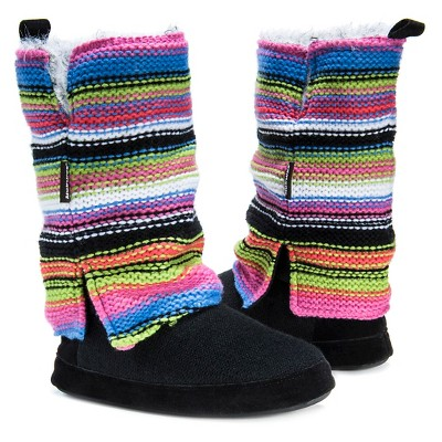 Women's Muk Luks Trisha Striped Sweater Knit Slipper Boots - Rainbow S(5-6), Size: S (5-6), Multicolored