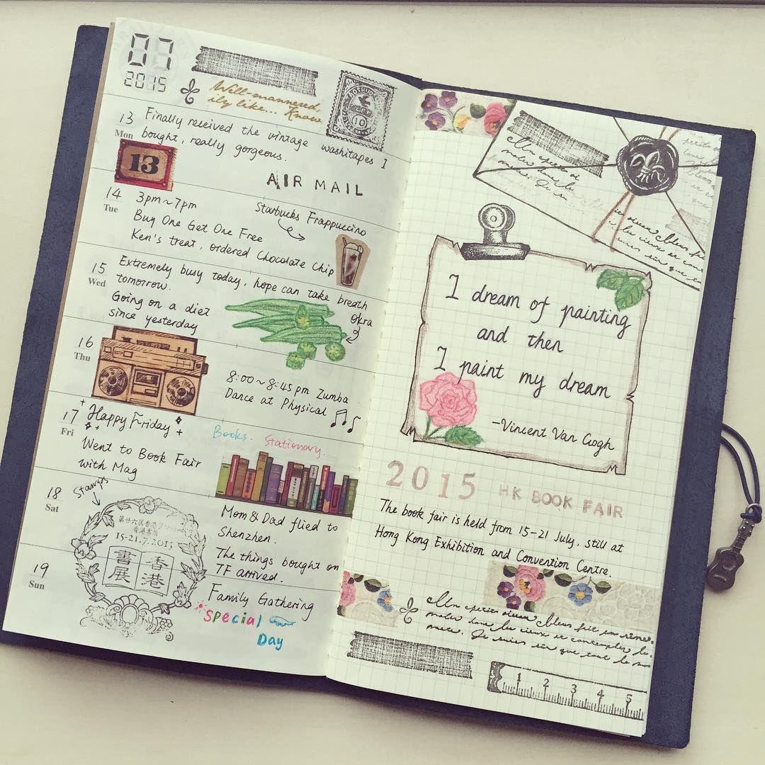 A week passed again, week 3 of July #travelersnotebook #washitape #travelersnote #travelersfactory #mtn #picture #midori #トラベラーズノート #トラベラーズファクトリー #手帳 #notebook #planneraddict #planner #マスキングテープ #文房具 #寫樂 #sailor14k #sailorpen #drawing #マスキングテープ #纸胶带 #紙膠帶 #maskingtape #stamps #vintagestamps #hkbookfair #香港書展 #margaretstampset #rubberstamps
