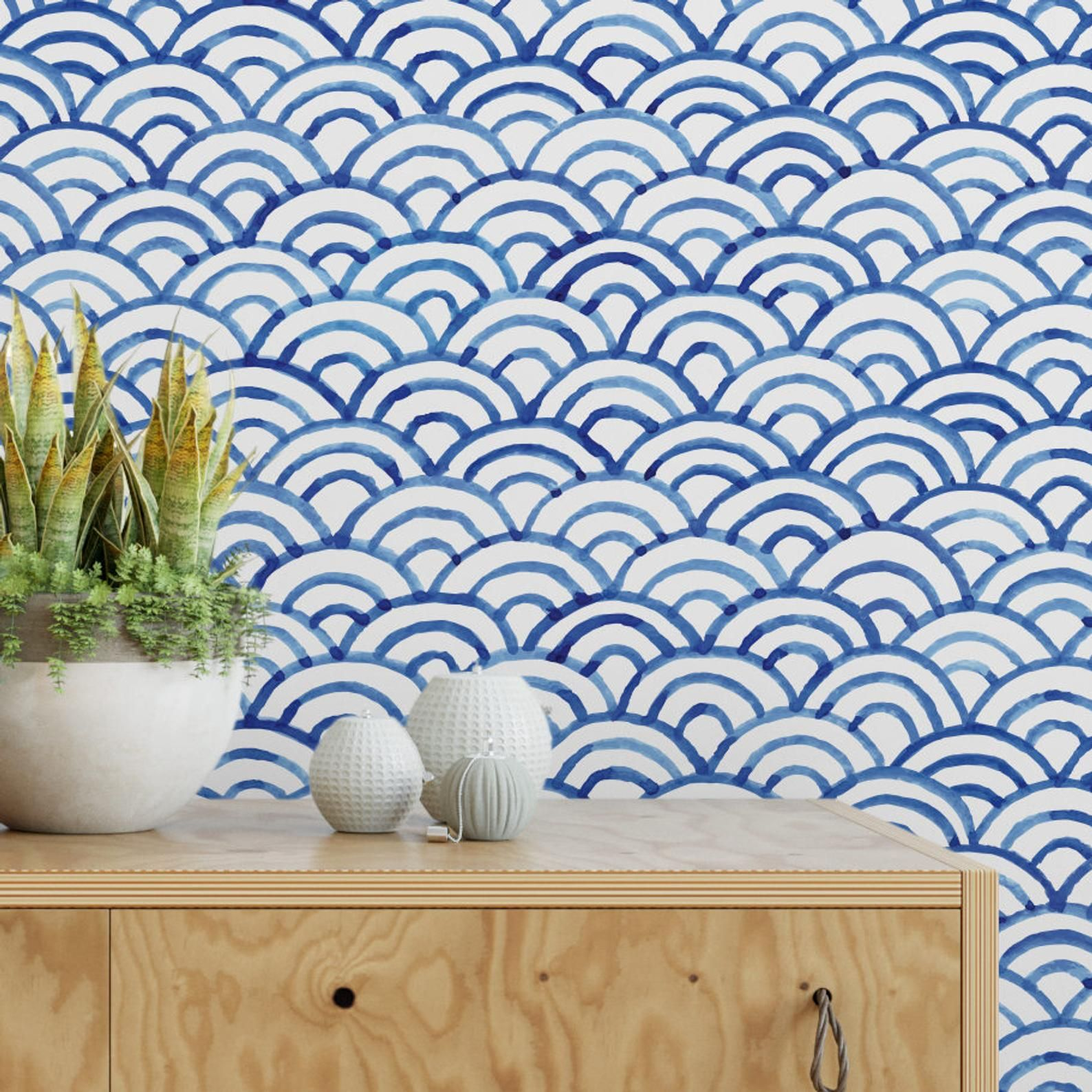 Hand painted watercolor scallops removable wallpaper
