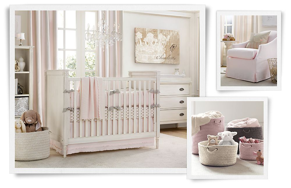 Simple Elegant Baby Girl Nursery With Chandelier Chic
