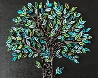printemps arbre quilling tree art mural d coratif d coration vert sapin quilling art. Black Bedroom Furniture Sets. Home Design Ideas
