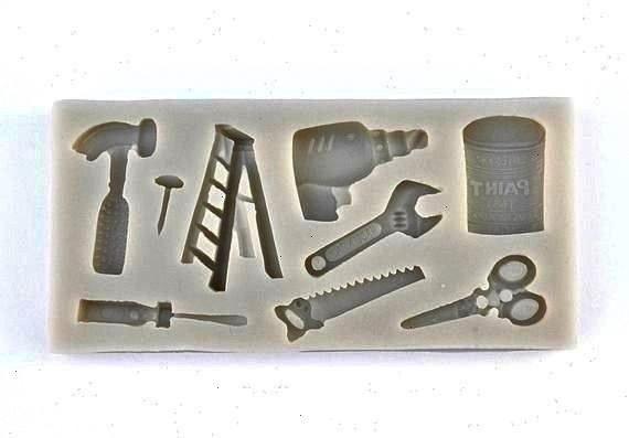 Fondant Mold Chocolate Mold Hammer Ladder Paint Scissors Screwdriver Cupcake Decoration for Men Fathers Day MoldchocolateTOOLS VARIETY MOLD Fondant Mold Chocolate Mold Ha...