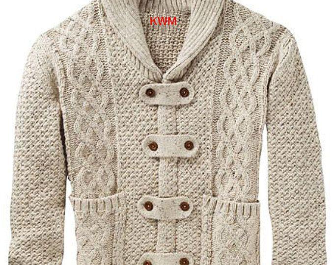Mens hand knitted cardigan turtleneck sweater cardigan men clothing ...