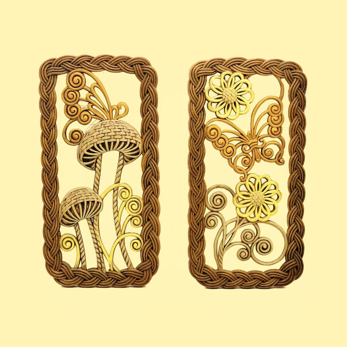 70s Retro Wall Hangings, Faux Wicker Framed Mushrooms and Butterfly ...