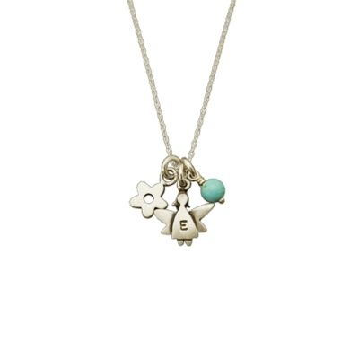 """Guardian Angel Initial Necklace, 18"""""""