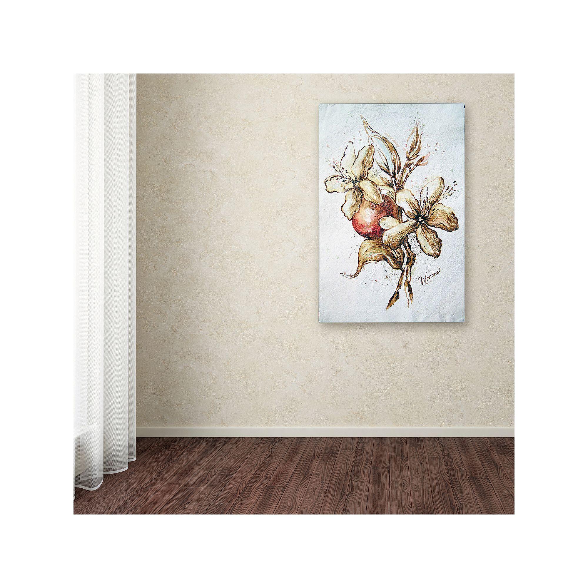 Trademark fine art coffee flower u bean canvas wall art brown