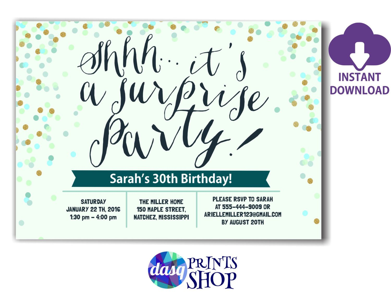 INSTANT DOWNLOAD Surprise Birthday Invitation - 40th 50th 60th ...