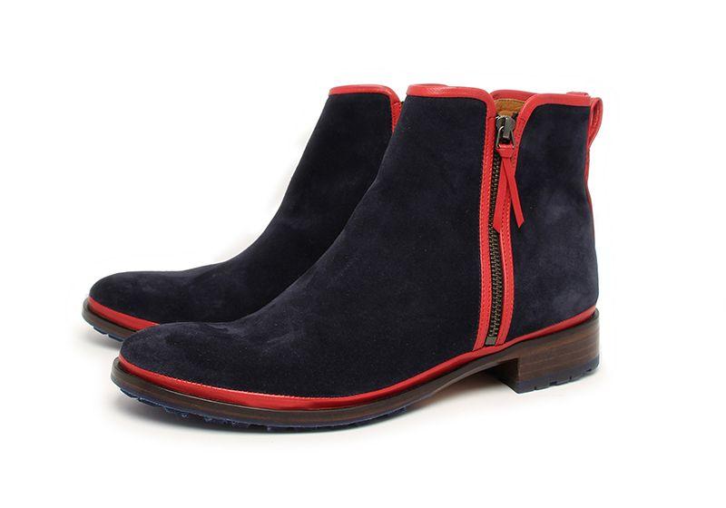 Boots zippée  homme en veau velours bleu et ganse agneau rouge- Collection Hivers 2015-16