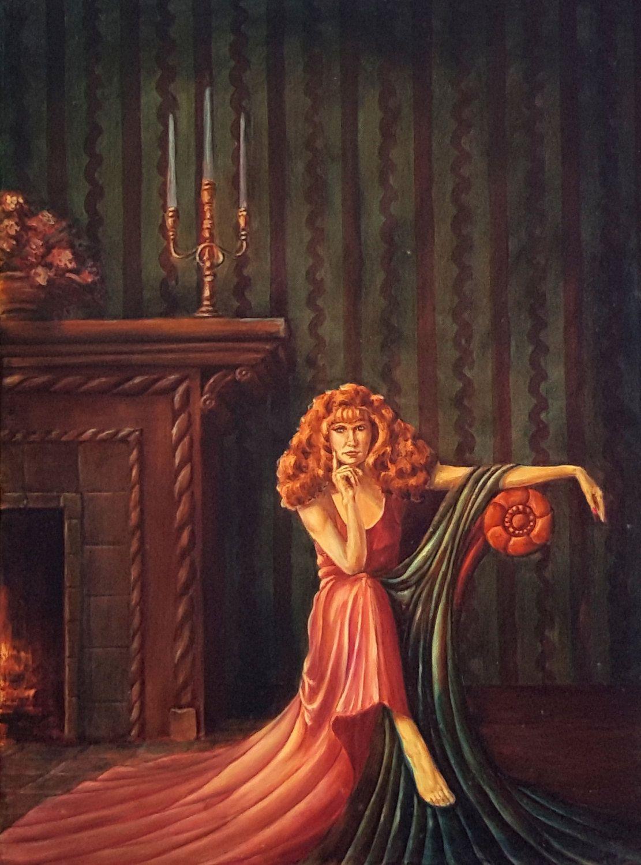 Fireplace And Drape Original Oil Paintingfigure Paintingrealism Paintingfemale Figure