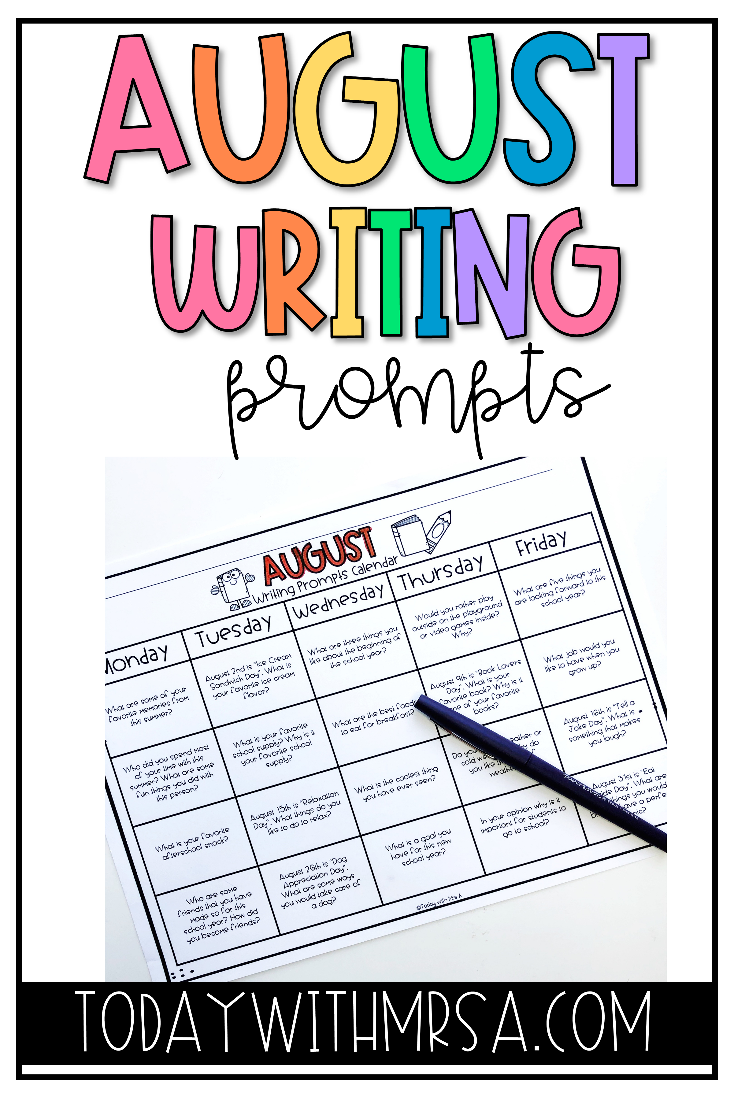 Back To School Writing Prompts Centers Elementary Writing Elementary Writing Prompts Writing Prompts 2nd Grade [ 3600 x 2400 Pixel ]