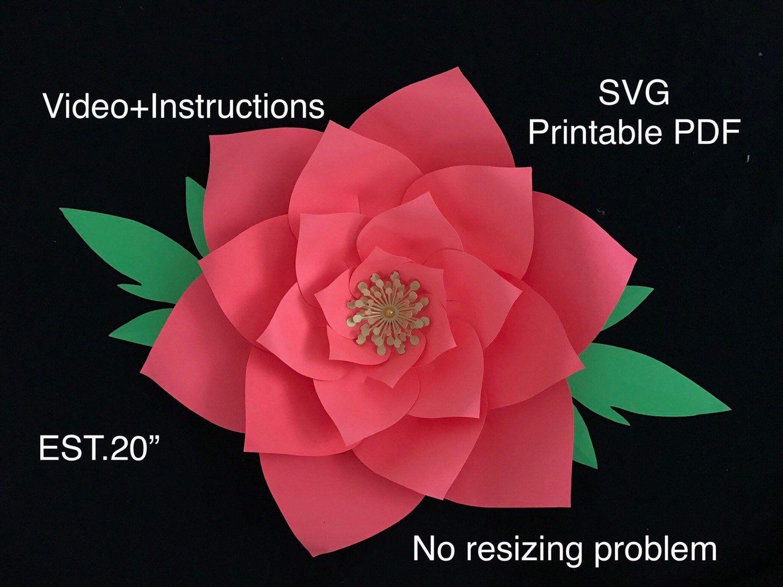 SVG Printable PDF Large Paper Flower Template Big Paper Flowers Svg Pdf 3D Paper Flowers Wall Decor Flores De Papel Oversized Paper Flowers