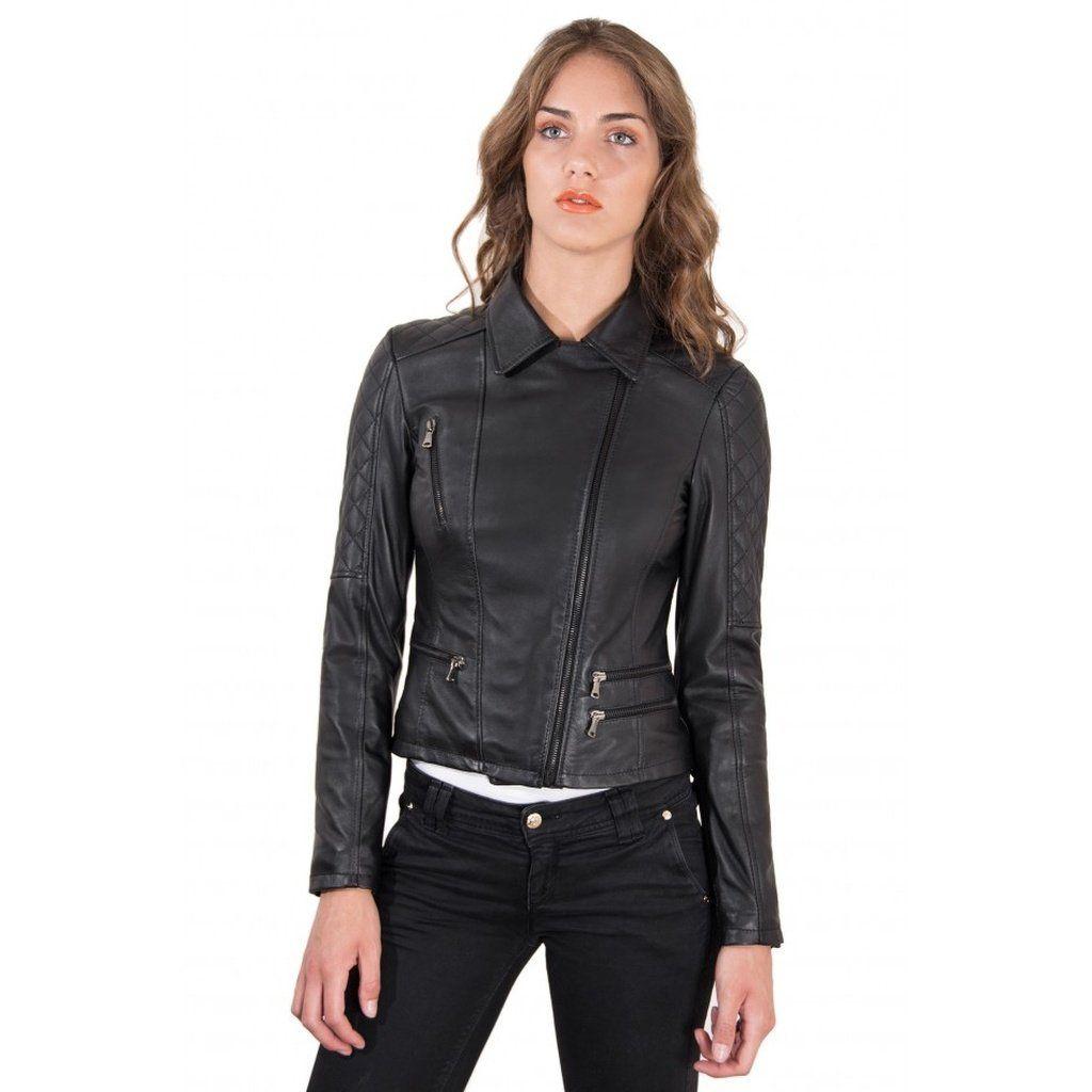 Women S Leather Jacket Biker Cross Zip Quilted Yoke Black Color