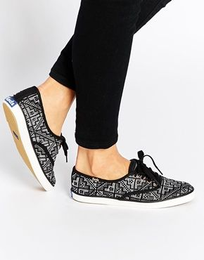 Buy Women Shoes / Keds Needlepoint Black Plimsoll Trainers