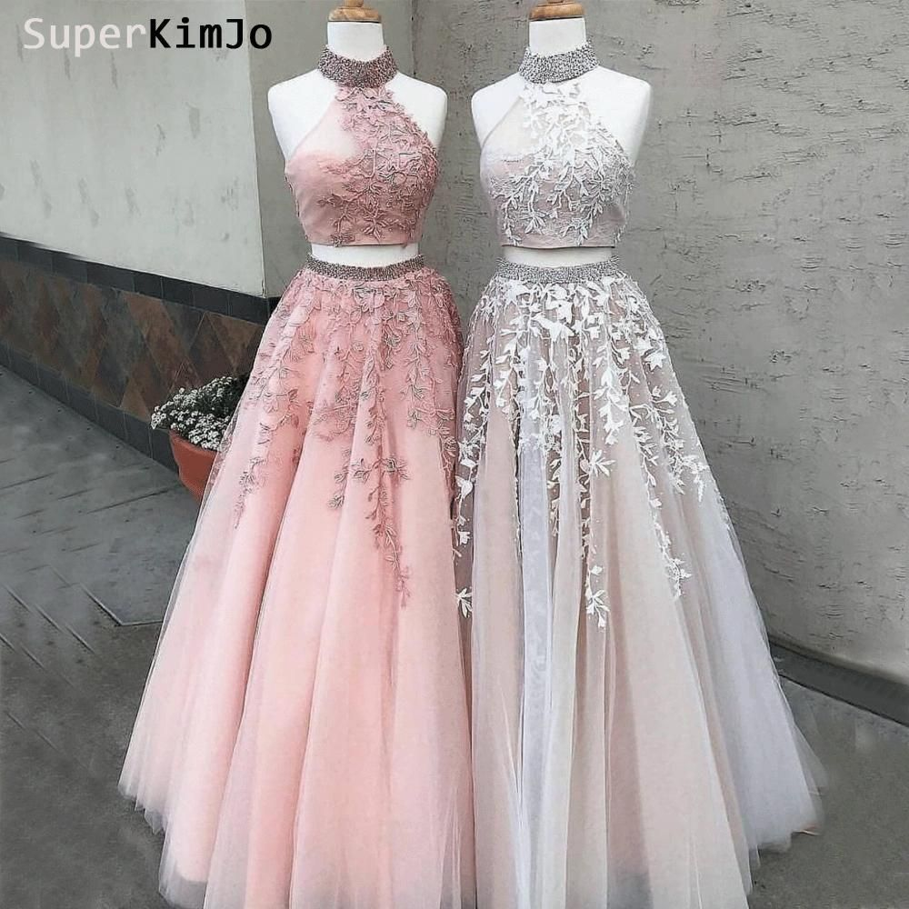 Two piece prom dresses 2020 high neck lace appliqué beaded champagne elegant prom gown