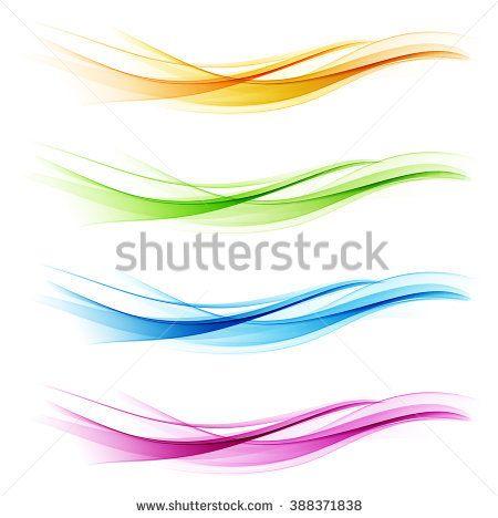 set of abstract color wave smoke transparent blue pink orange green wavy design purple